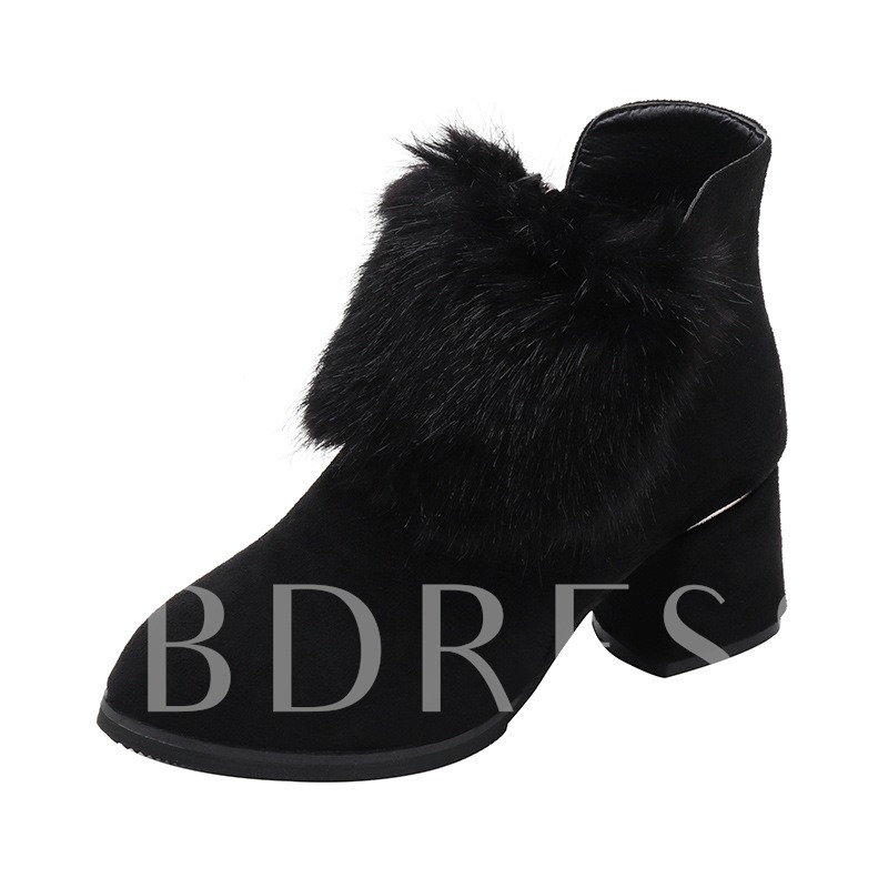 Buy Suede Round Toe Side Zipper Chunky Heel Short Floss Ankle Boots, Spring,Fall,Winter, 13468991 for $41.64 in TBDress store