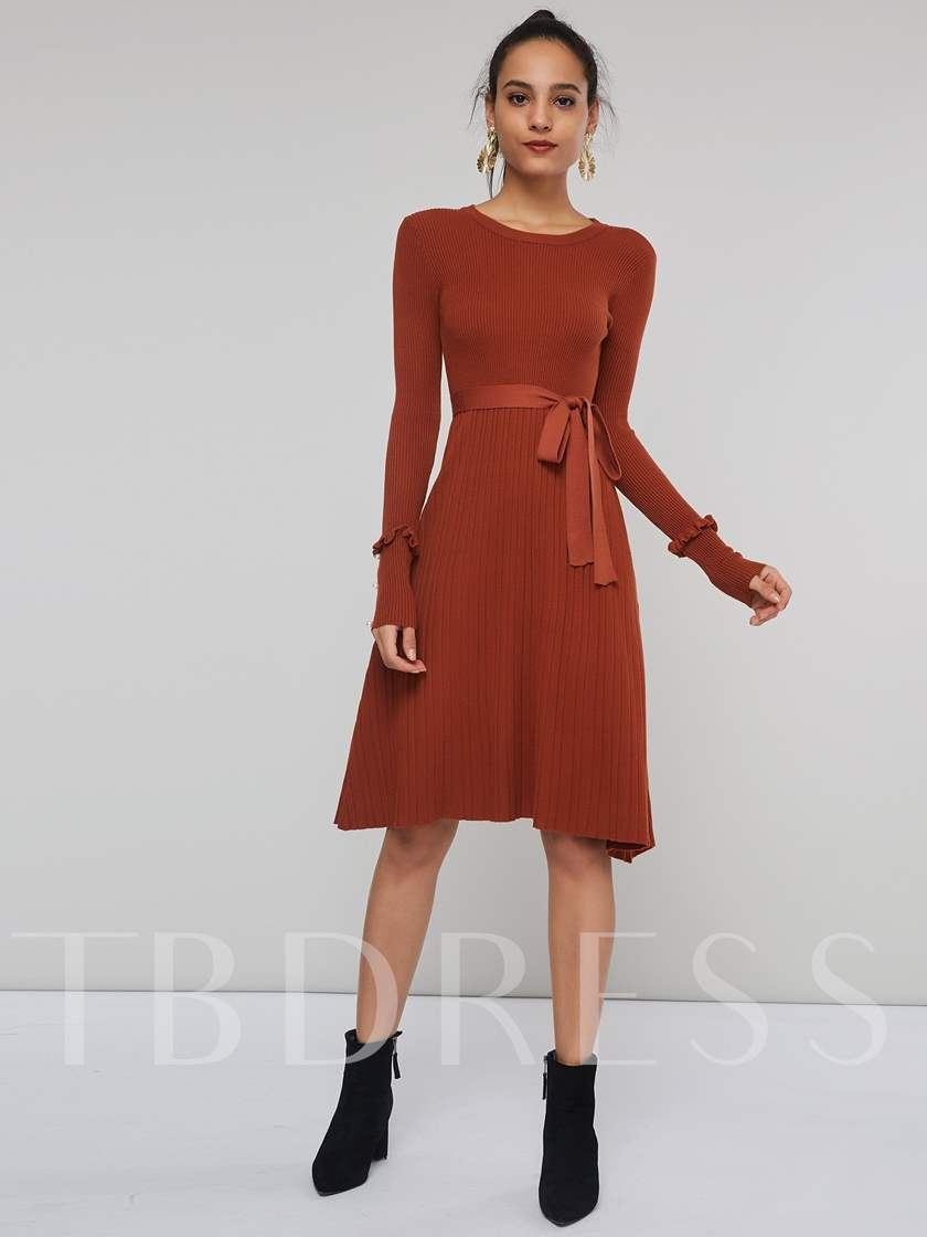 Round Neck Lace Up Women's Long Sleeve Dress