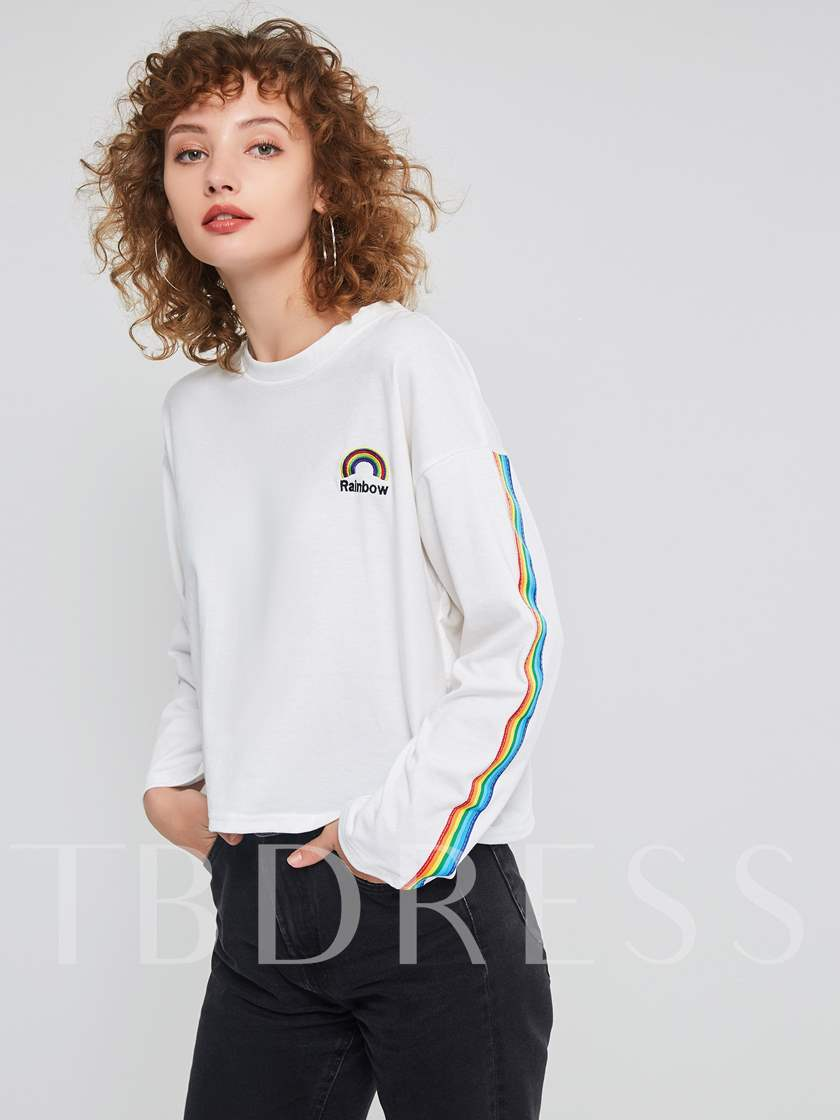 Loose Scoop Neck Rainbow Embroideried Women's T-shirt