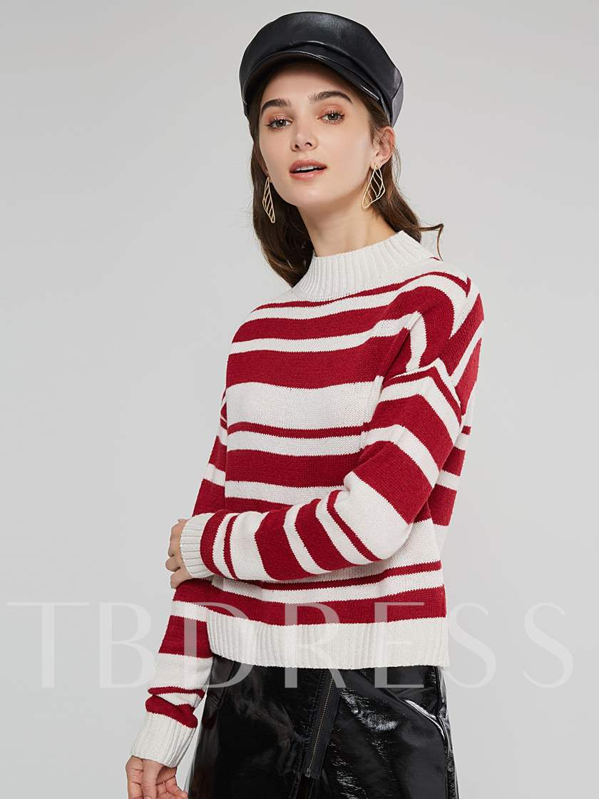 Color Block Stripe Stand Collar Women's Sweater