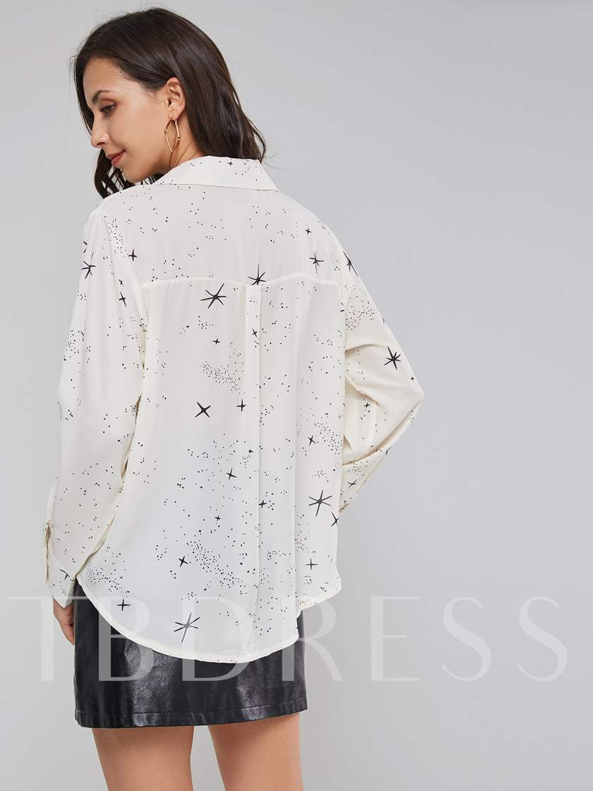 Notched Lapel Star Print Single-Breasted Women's Shirt