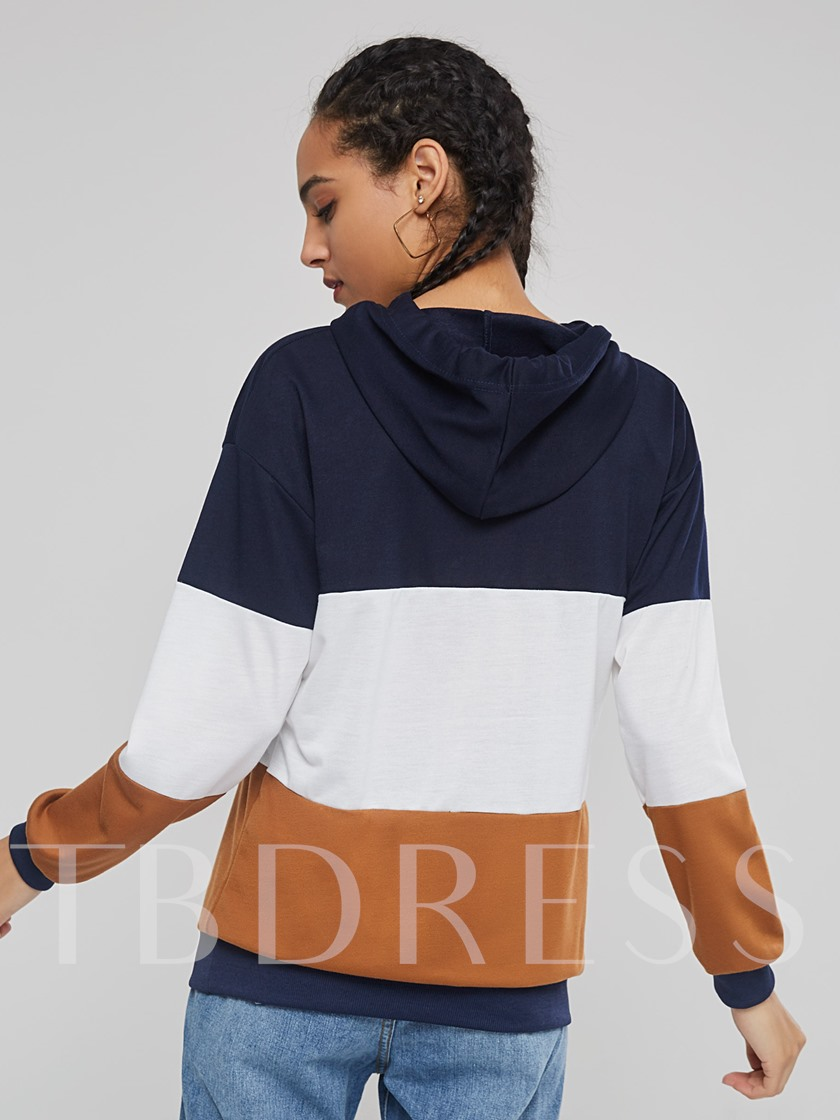 Straight Pullover Color Block Women's Hoodie