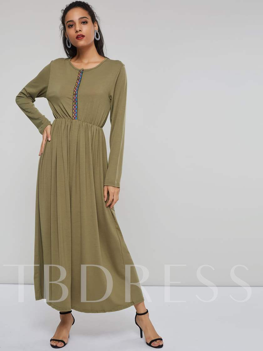 Long Sleeves Pullover Women's Maxi Dress