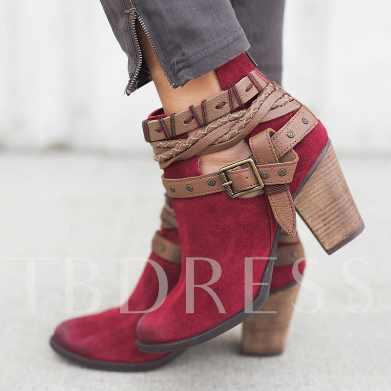 Vintage Round Toe Chunky Heel Back Zip Ankle Boots