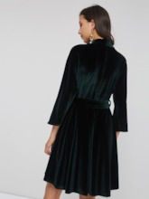 Velvet V-Neck Belt Women's Long Sleeve Dress