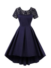 Scoop Neck Short Sleeves Lace Cocktail Dress