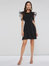 Round Neck 3/4 Length Sleeves Women's Day Dress