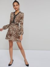 Lace Leopard Women's Long Sleeve Dress