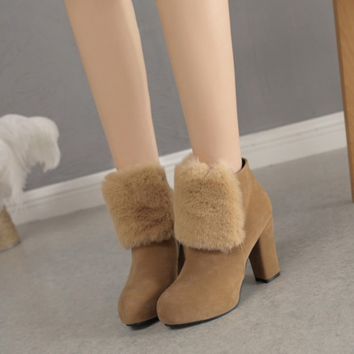 Suede Side Zipper Platform Round Toe Chunky Heel Warm Ankle Boots