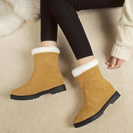 Slip-On Round Toe Casual Elevated Purfle Ankle Snow Boots