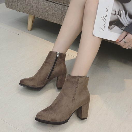 Suede Side Zipper Chunky Heel Casual Plain Chic Ankle Boots
