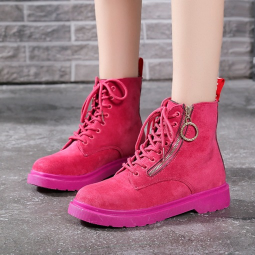 Side Zipper Suede Block Heel Round Toe Cross Strap Casual Martin Boots