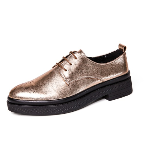 Lace-Up Round Toe PU Metallic Professional Men's Oxford