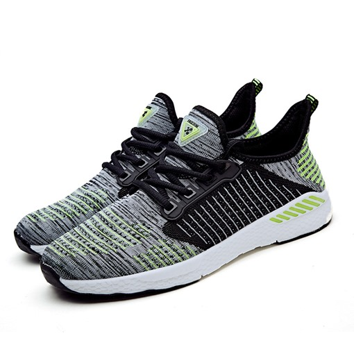 Mesh Lace-Up Round Toe Stripe Lightweight Men's Sneakers