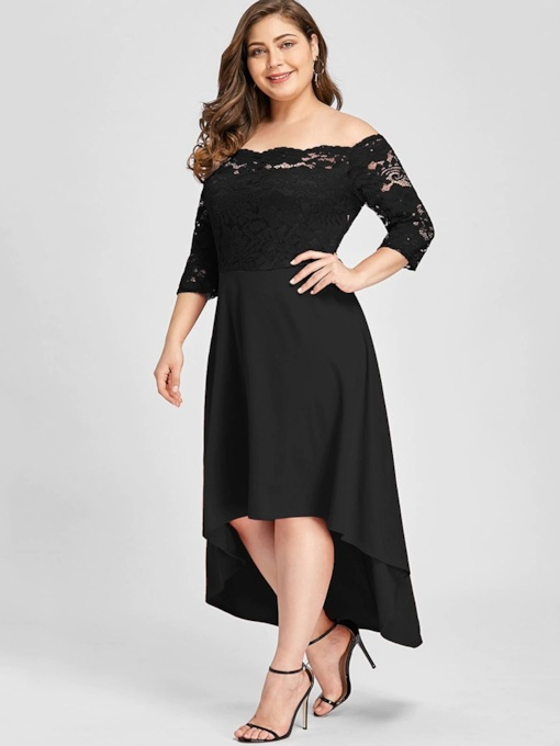 Off Shoulder Hollow Patchwork Elegant Women's Lace Dress