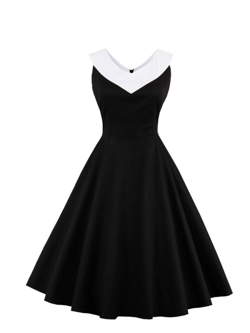 V Neck Zipper-Up A Line Cocktail Dress