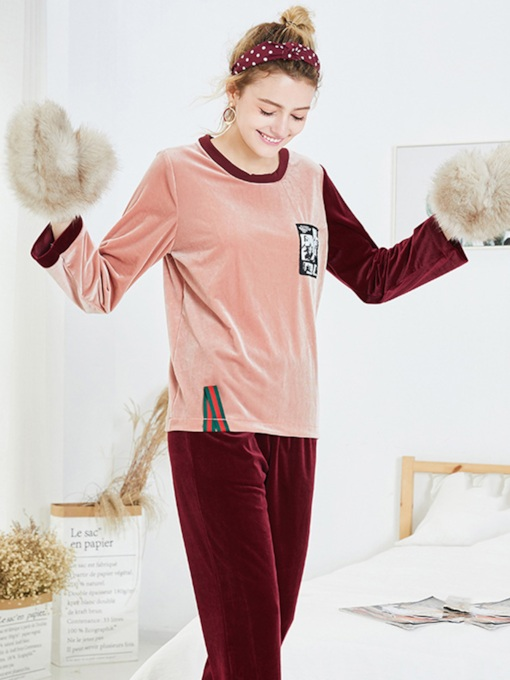 Women's Round Neck Pullover Long Pajama Set