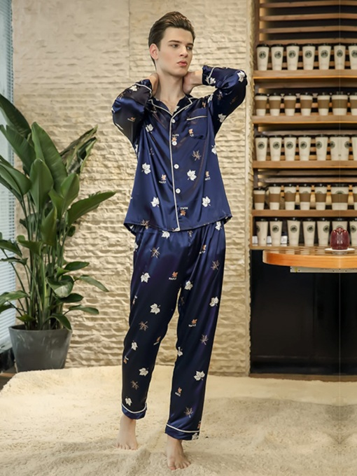 Print Lapel Long Men's Pajama Set