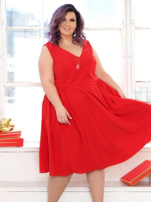 Christmas Red Sleeveless V-Neck Women's Day Dress