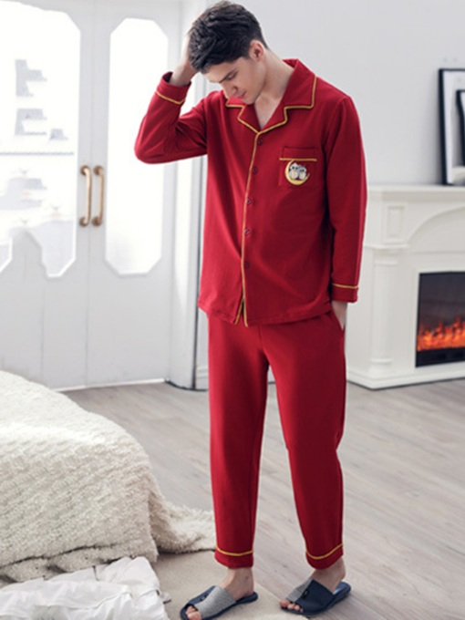 Animal Single-Breasted Long Men's Pajama Set