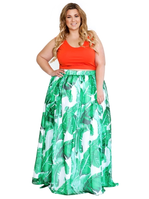 Floral Print A Line Floor Length Women's Skirt