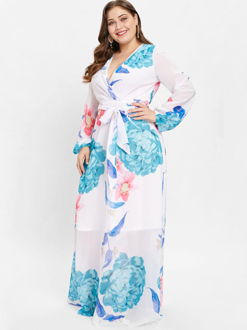 V-Neck Floral Prints Long Sleeves Women's Maxi Dress