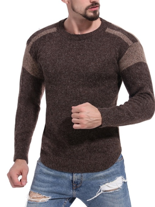 Slim Scoop Neckline Patchwork Men's Sweater