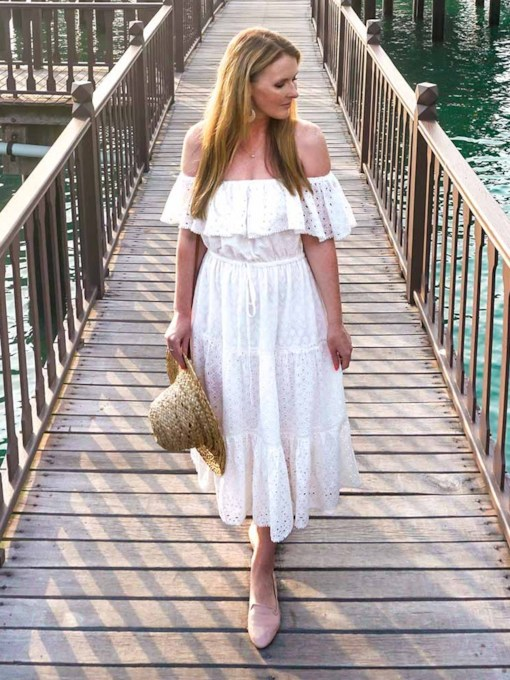 Off Shoulder Short Sleeve Bohemian Women's Maxi Dress
