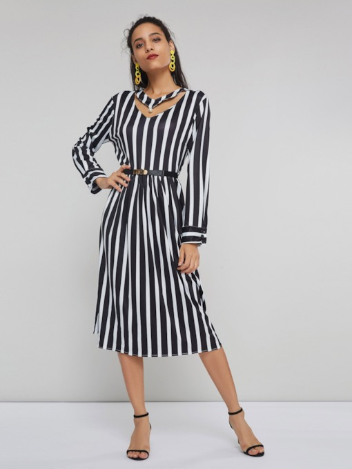 Hollow Stripe Women's Long Sleeve Dress