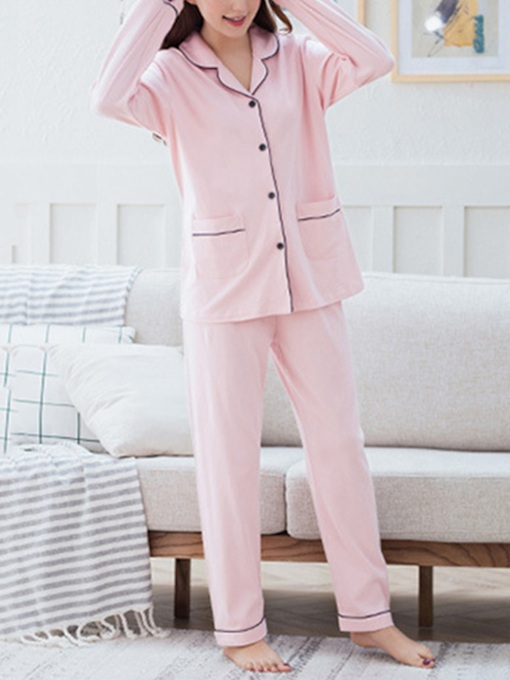 Lapel Pocket Simple Women's Pajama Set