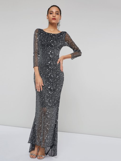 Long Sleeve See-Through Women's Maxi Dress