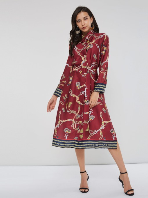 Elegant Belt Single-Breasted Women's Long Sleeve Dress