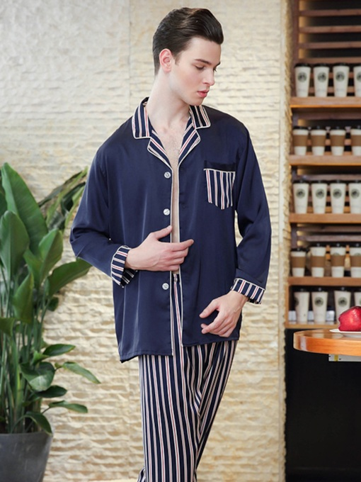 Stripe Single-Breasted Long Men's Pajama Set
