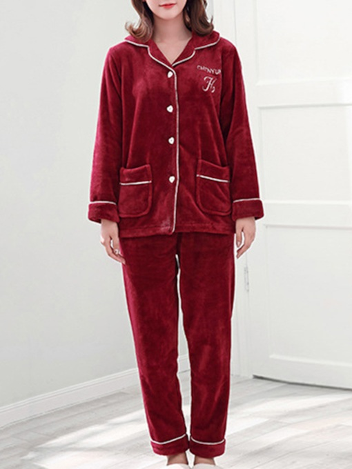 Single-Breasted Velvet Long Women's Pajama Set