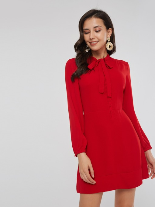 Christmas Red Bow Collar Plain Women's Long Sleeve Dress