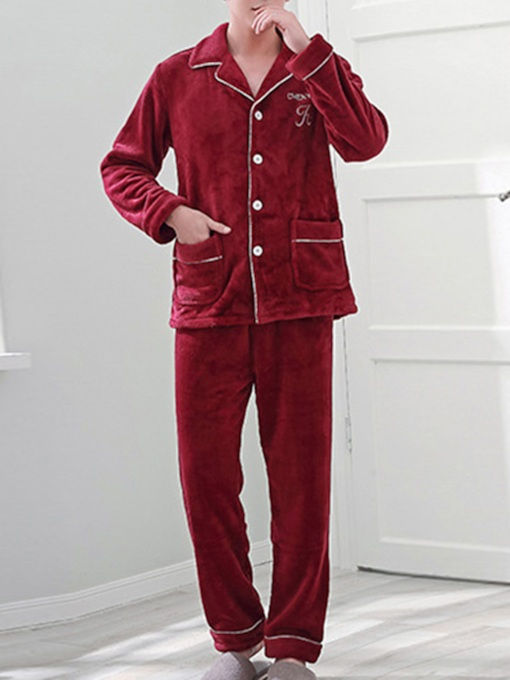 Letter Lapel Velvet Simple Men's Pajama Set