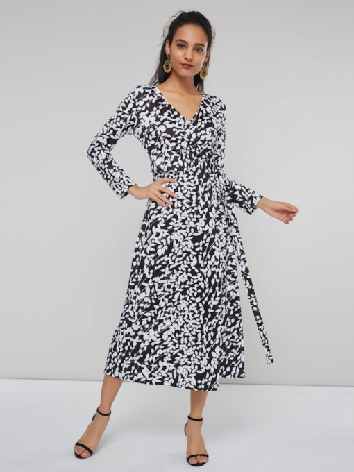 Print V-Neck Lace Up Women's Long Sleeve Dress