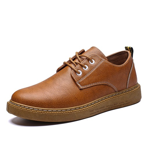 PU Lace-Up Round Toe Soft Sewing Men's Loafers