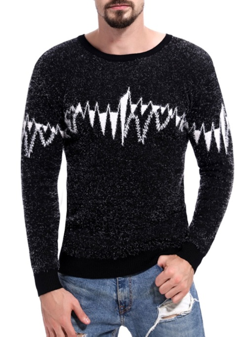 Scoop Neckline Slim Men's Sweater