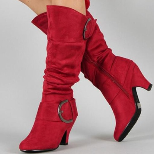 Suede Round Toe Side Zipper Buckle Casual Mid Calf Boots