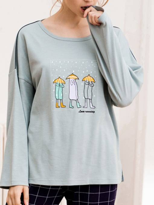 Loose Pullover Cartoon Long Women's Pajama Set