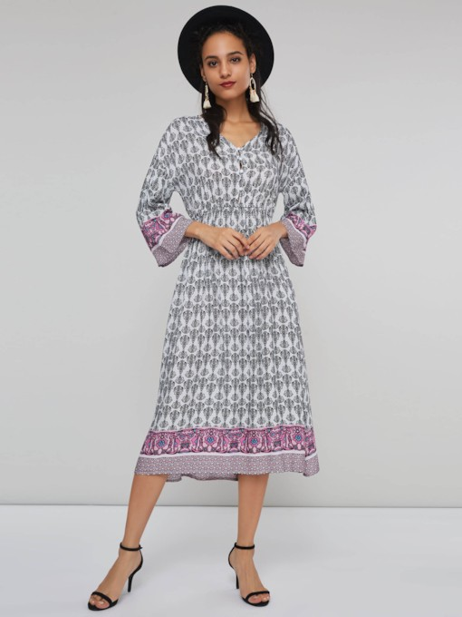 Print V-Neck Women's Long Sleeve Dress