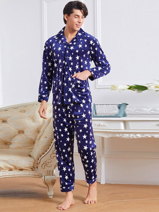 Men's Star Velvet Thicken Long Pajama Set