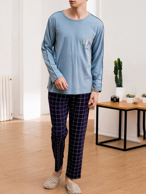 Loose Pullover Cartoon Plaid Men's Pajama Set