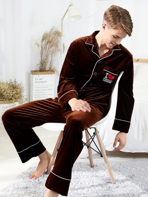 Letter Lapel Velvet Long Men's Pajama Set