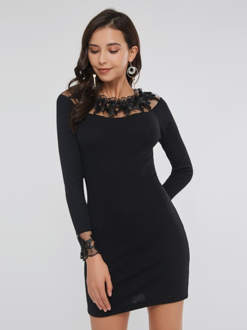 See-Through Mesh Bodycon Women's Long Sleeve Dress