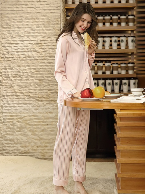 Stripe Single-Breasted Long Pajama Set for Women