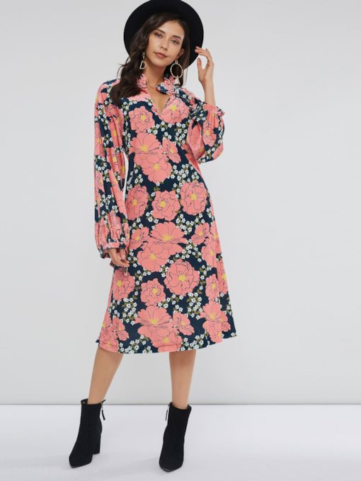 Pleuche Floral Prints Women's Long Sleeve Dress