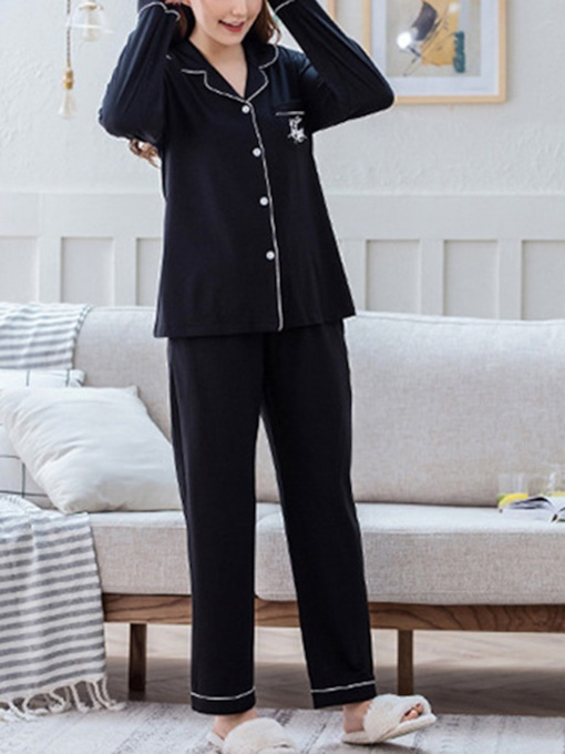 Animal Single-Breasted Thin Women's Pajama Set