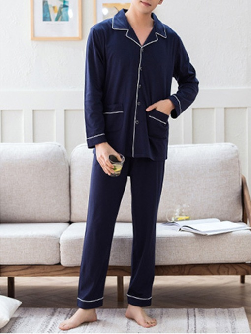 Lapel Pocket Simple Men's Pajama Set